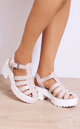 Nude Patent Cleated Platforms Strappy Sandals Wedges Heels by Shoe Closet