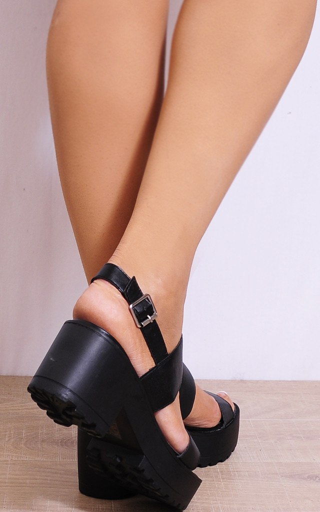 Black Cleated Platforms Strappy Sandals Sling Backs Heel by Shoe Closet