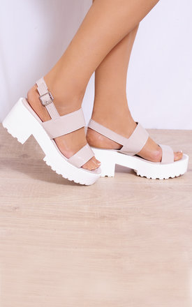 Nude Patent Cleated Platforms Strappy Sandals Sling Backs by Shoe Closet