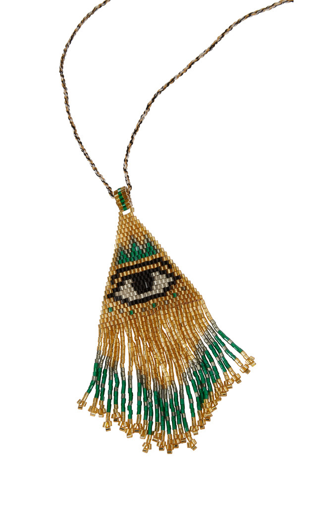 Evil Eye Gold Beaded Pendant by Helix and Felix