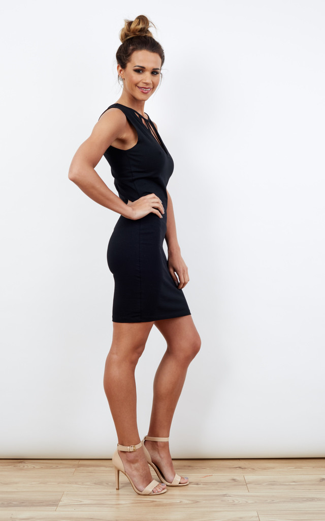Black Sleeveless Dress with Cut Out Plunge Detail by Noisy May