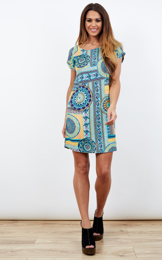 Blue Aztec Print Short Sleeved Tunic Dress by Paisley Rain