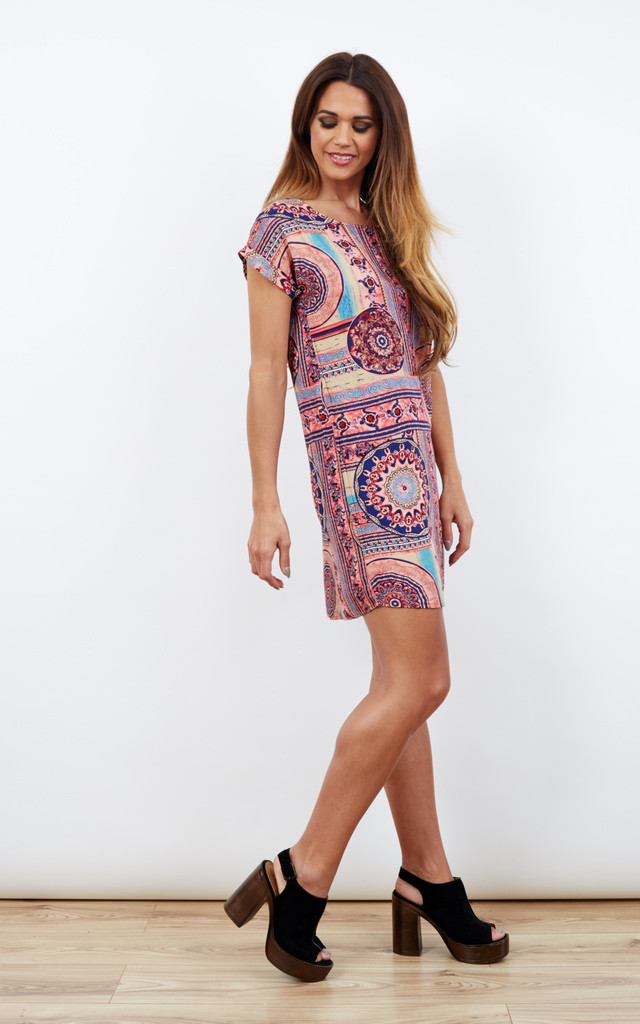 Pink Aztec Print Short Sleeved Tunic Dress by Paisley Rain