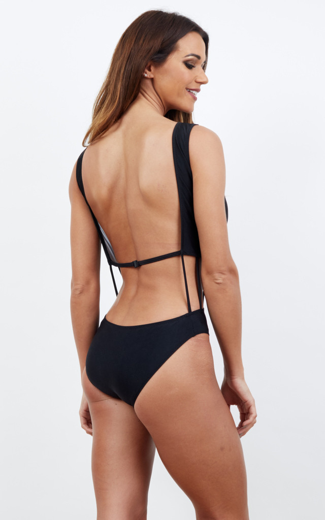 Black Plunge One-Piece Swimsuit With Middle Bar Cut-Outs by Bella and Blue