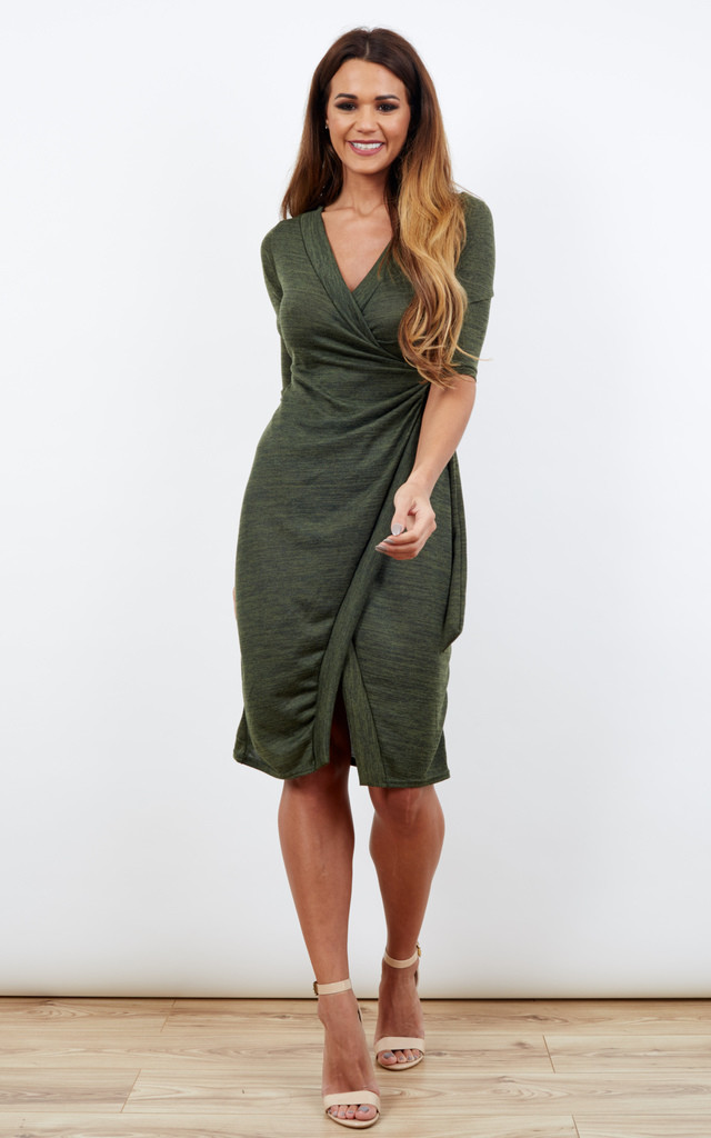 Khaki 3/4 Sleeve Wrap Midi Dress With Loop Belt by Lilah Rose