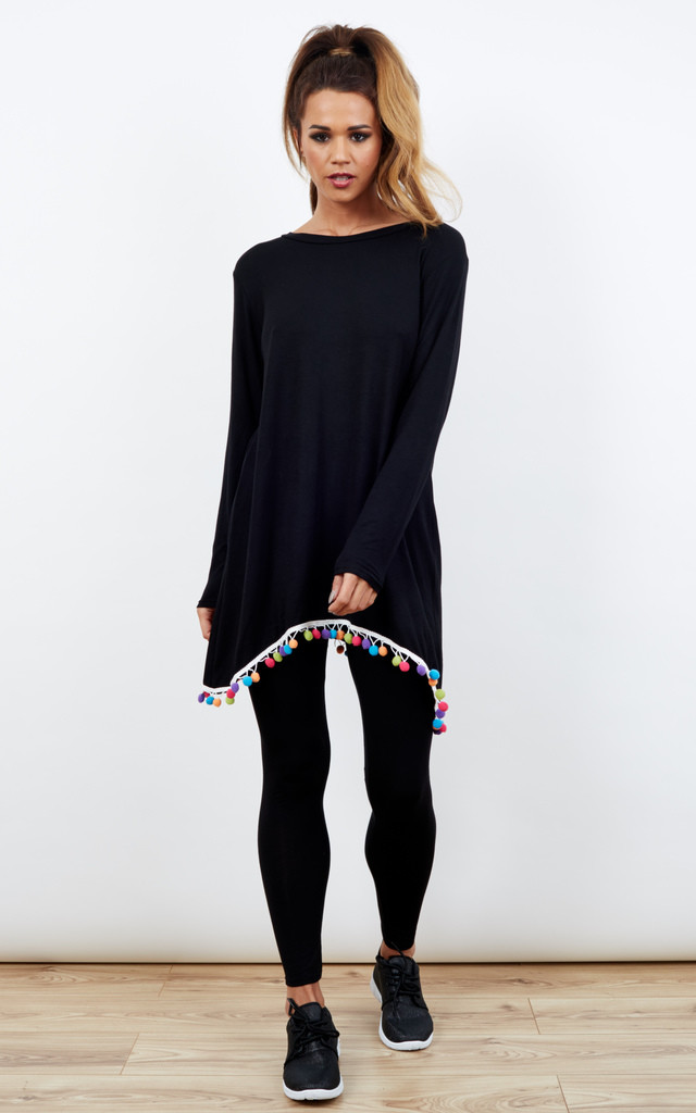 Black Co-Ord Loungewear With Multi Colour Pom-Pom Detail by Bella and Blue
