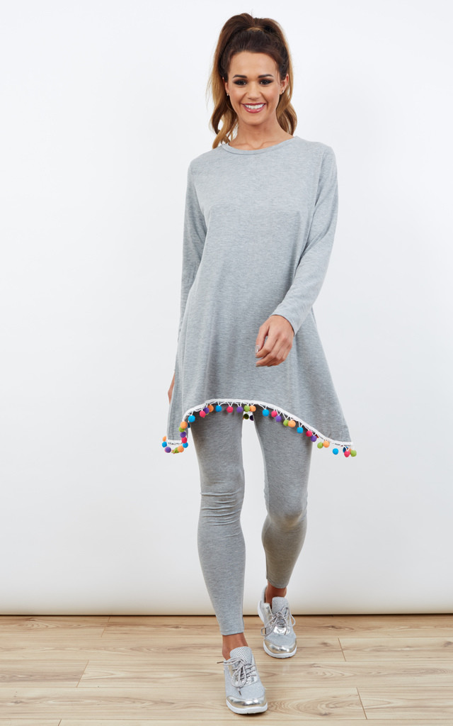 Grey Co-Ord Loungewear With Multi Colour Pom-Pom Detail by Lilah Rose