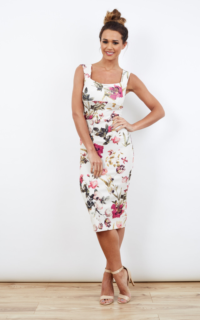 Purple Floral Bodycon Midi Dress Cut Out Back by Bella and Blue