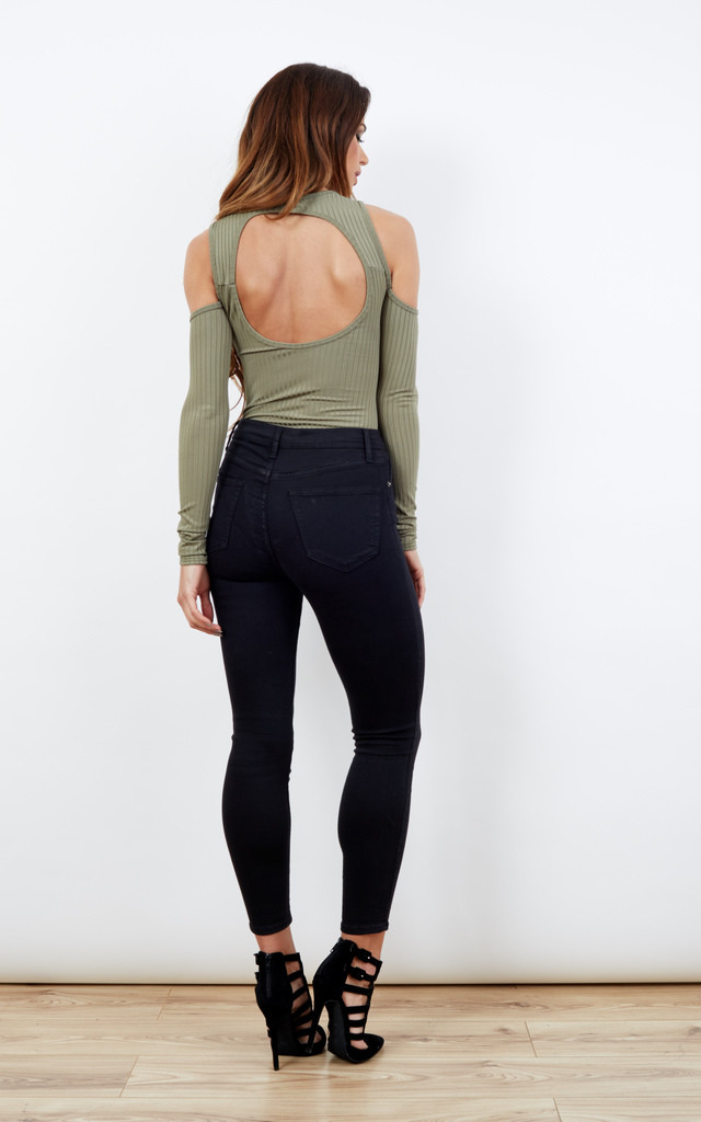 Khaki Cold Shoulder Long Sleeve Cut Out Back Bodysuit by Bella and Blue