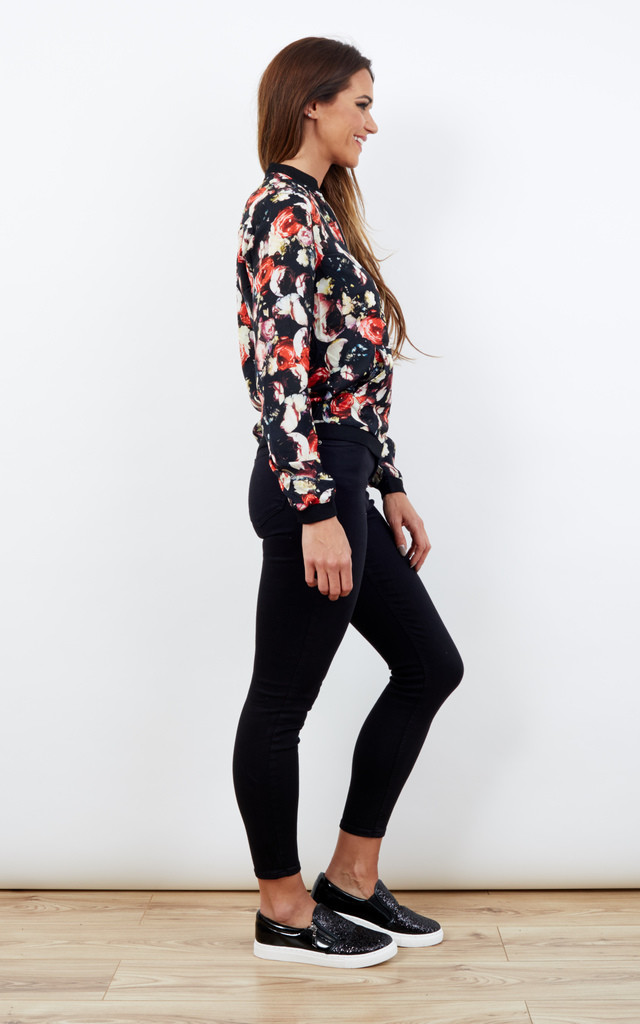 Red Rose Floral Light Weight Silky Jacket Bomber by Lilah Rose