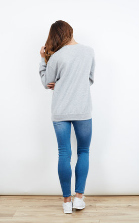 Stay Sassy Embroidered Grey Jumper by Emma Warren