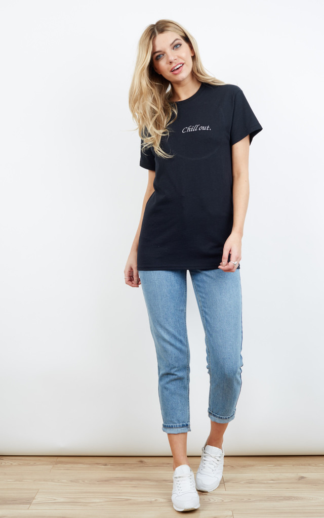 Chill Out Embroidered Slogan T-Shirt by Emma Warren