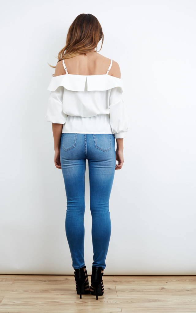 DEBUT WHITE COLD-SHOULDERS TOP - WHITE by Jovonna London