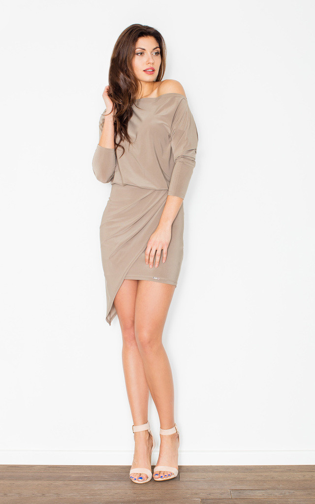Beige off the shoulder asymmetrical dress by FIGL