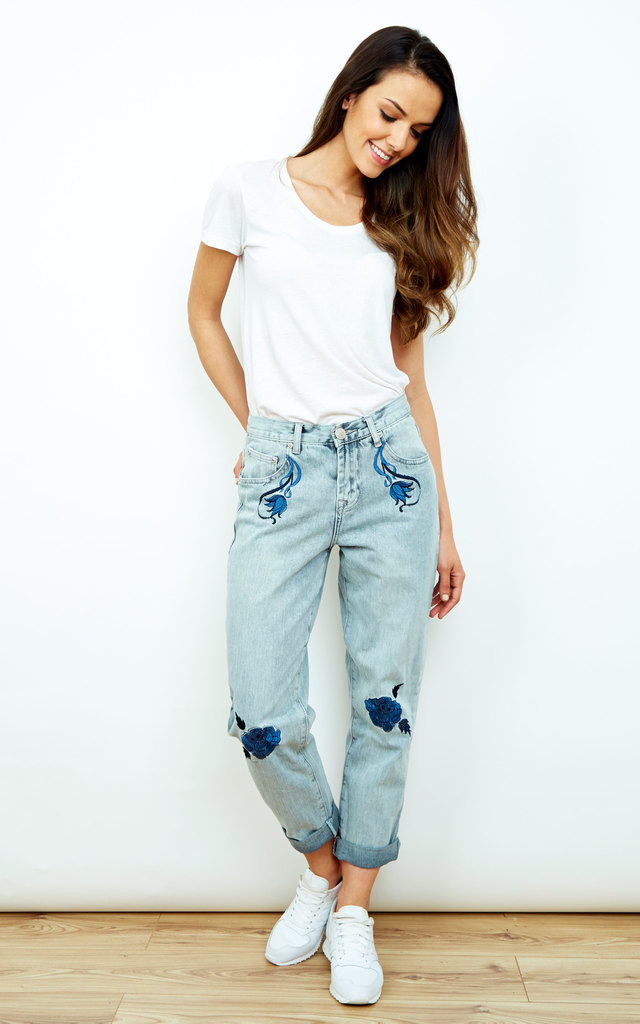 Blue Embroidered High Waist Mom Jeans by Glamorous