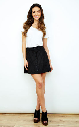 Black Faux Suede Button Down Mini Skirt by Glamorous Product photo