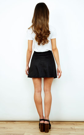 Black Faux Suede Button Down Mini Skirt by Glamorous
