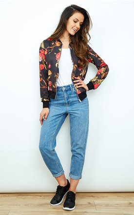 Black Floral Silky Bomber Jacket by Bella and Blue