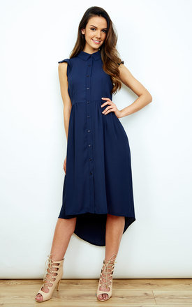 Navy Cap Sleeve Dipped Hem Shirt Dress by Bella and Blue Product photo