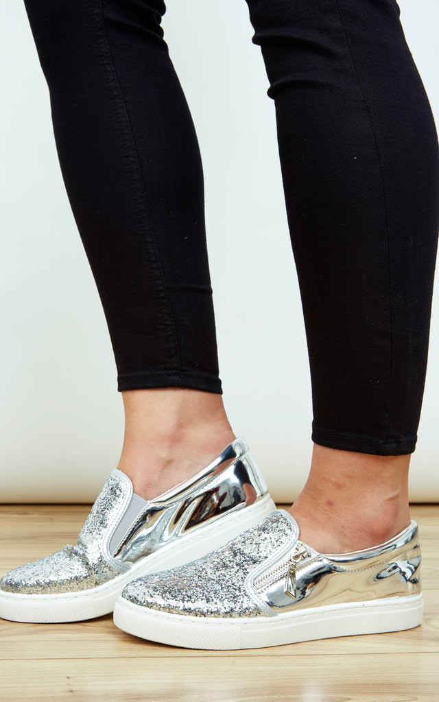 Silver Side Zip Glitter Slip On Trainers by Bella and Blue