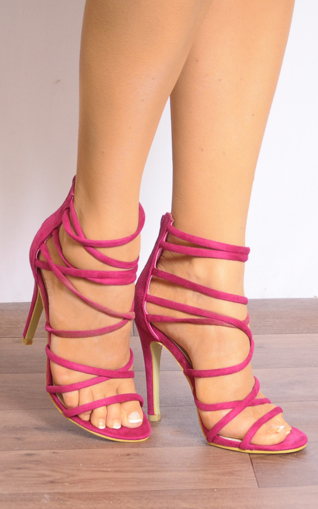Fuchsia Pink Barely There Stiletto Heels with Straps by Shoe Closet