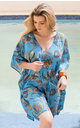 Turquoise Tropical Kaftan in Cotton and Silk Blend by likemary