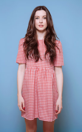 Red Gingham Smock Dress by Vintage Style Me