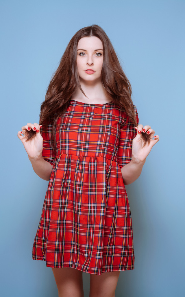 Red Tartan Cuffed Smock Dress by Vintage Style Me
