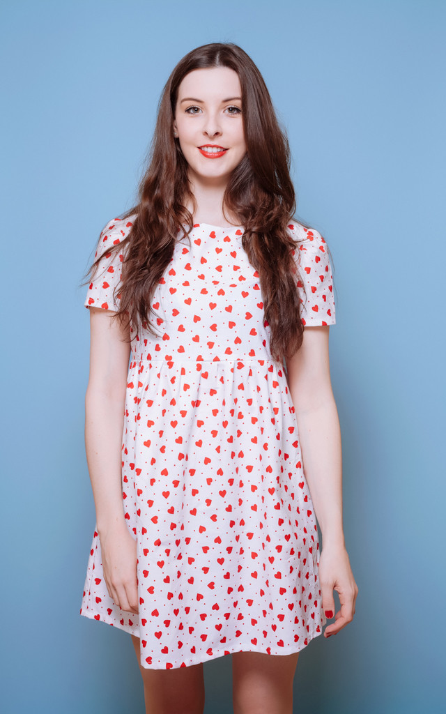 Heart Print Smock Dress by Vintage Style Me