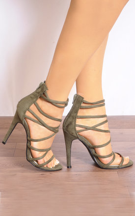 Khaki Green Barely There Stiletto Heels with Straps by Shoe Closet