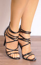 Black Patent Barely There Stiletto Heels with Straps by Shoe Closet