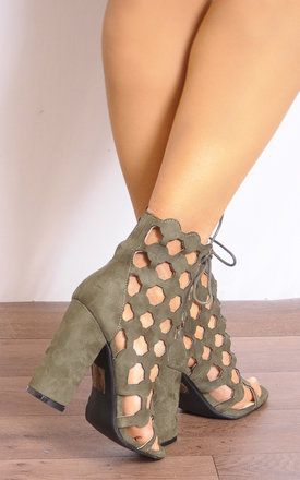 Khaki Green Laser Cuts Lace Ups Ankle Boots Strappy Sandals High Heels by Shoe Closet