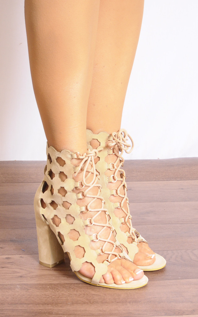 Nude Lace Up Ankle Boots with Cut Outs by Shoe Closet