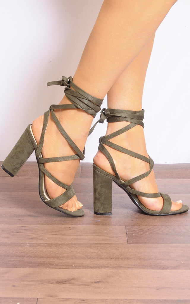 Khaki Green Lace Ups Wrap Round Strappy Sandals High Heels by Shoe Closet