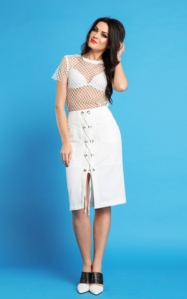 White Midi Skirt by Jezzelle