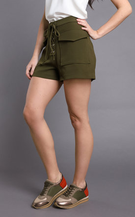 Laced Up Khaki Shorts by Jezzelle