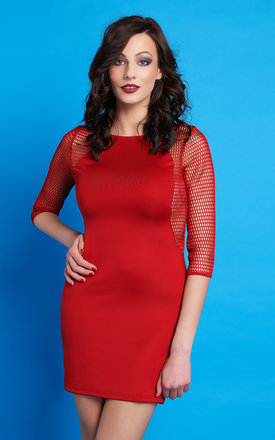 Mesh Sleeves & Side Panels Bodycon Dress by Jezzelle