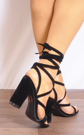 Black Lace Ups Wrap Round Strappy Sandals High Heels by Shoe Closet
