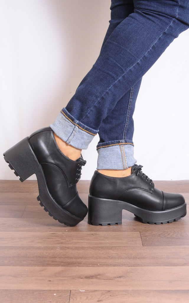 Black Cleated Lace Ups Platforms High Heels Shoes by Shoe Closet