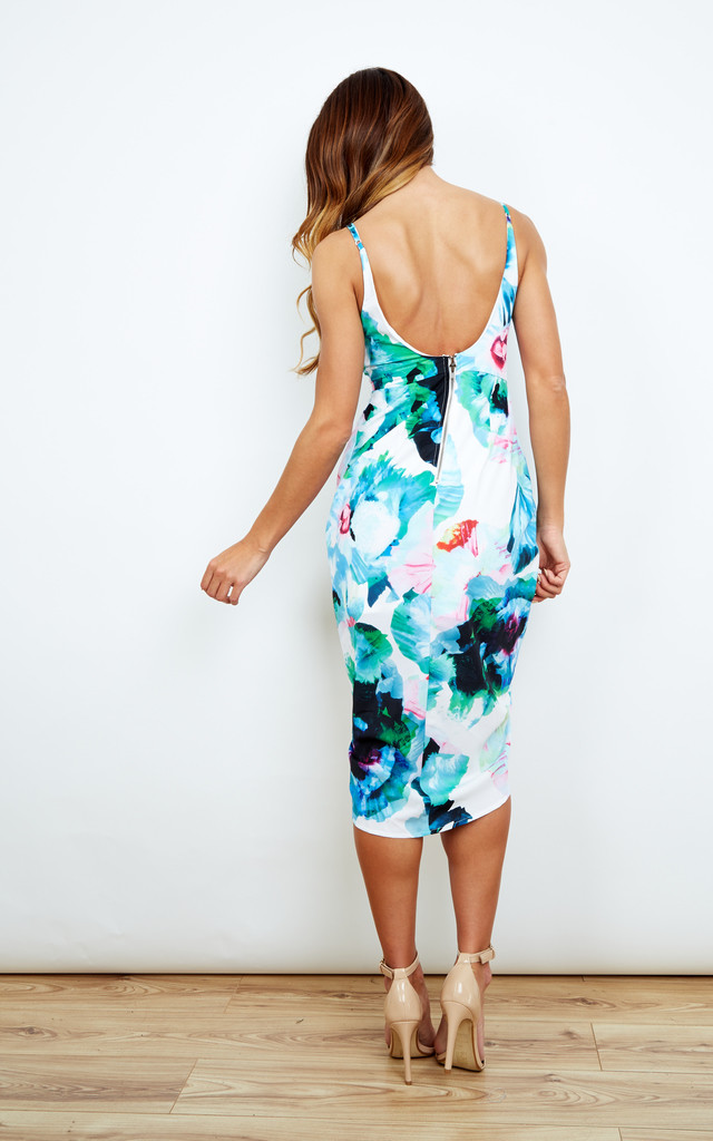 Front Drape Floral Dress by Ginger Fizz