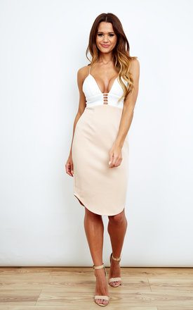 Nude And White Plunge Dress by Ginger Fizz Product photo
