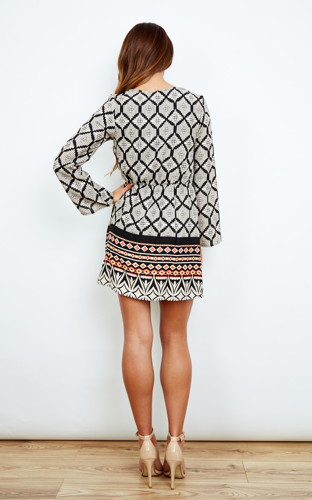 Aztec Print Dress With Red Border by Glamorous