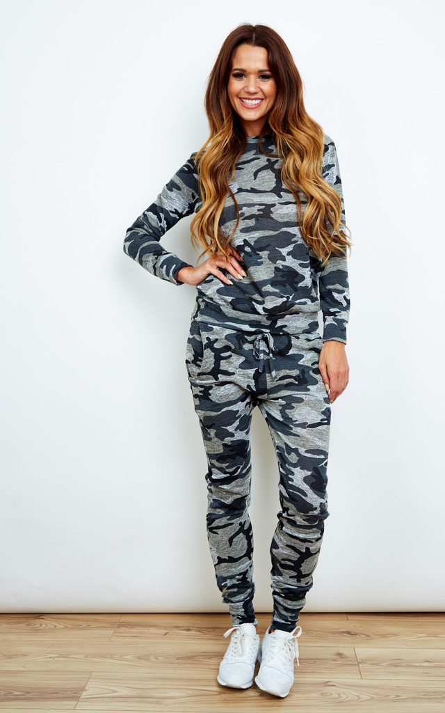 Grey Camouflage Co-Ord Loungewear Set by Bella and Blue