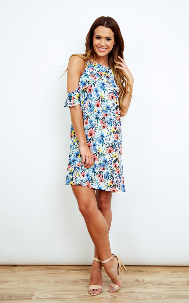 Cold Shoulder Multi Colour Floral Dress by Lola May