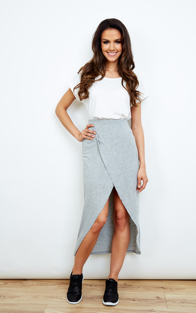 Jersey Maxi Skirt in Grey by Noisy May