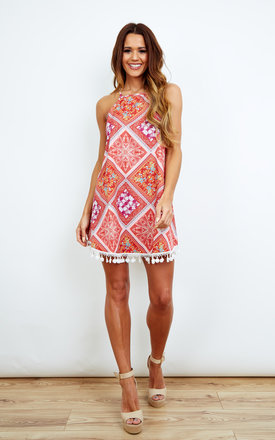 Paisley Dress With Pom Pom Hem by Kiss The Sky Product photo