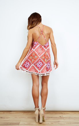 Paisley Dress with Pom Pom Hem by Kiss The Sky
