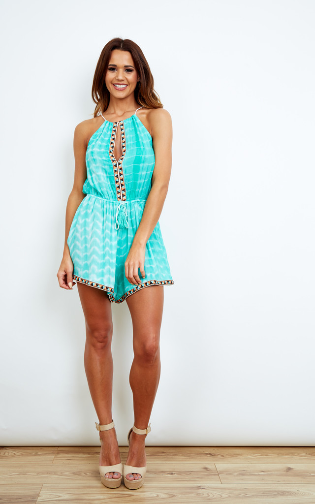 Turquoise Tie Dye Playsuit by Kiss The Sky