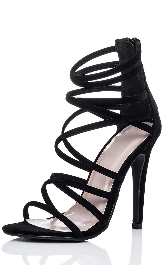 UZI Open Peep Toe High Heel Stiletto Strappy Sandals Shoes - Black Suede Style by SpyLoveBuy
