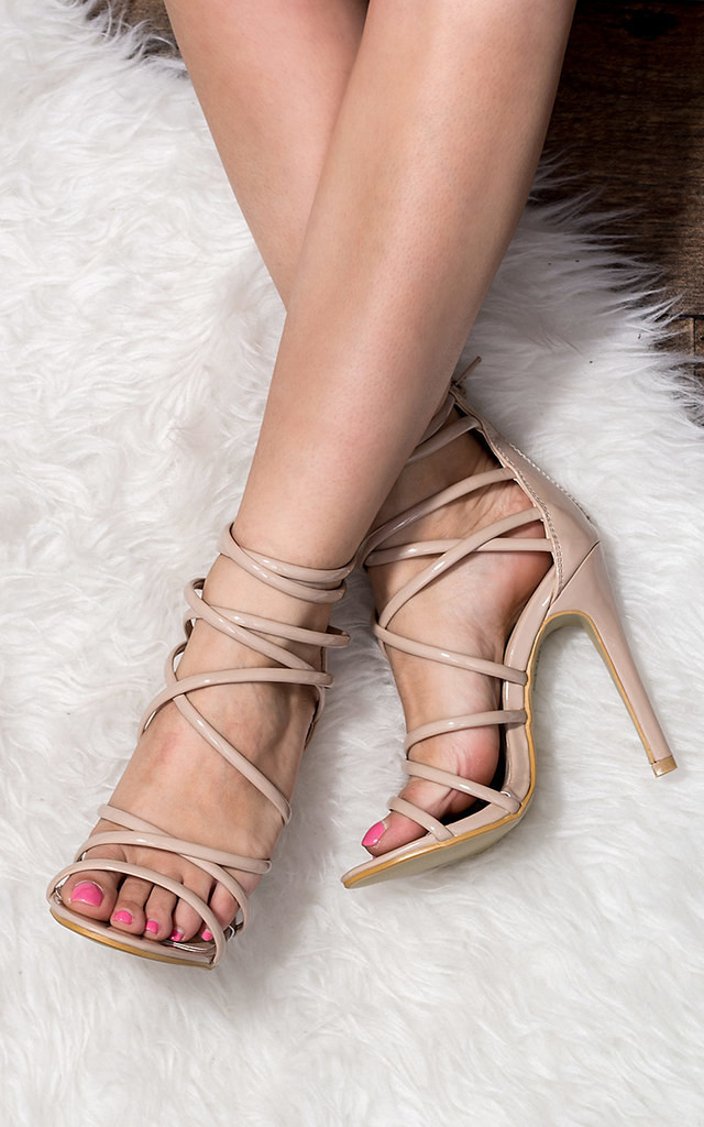 UZI Open Peep Toe High Heel Stiletto Strappy Sandals Shoes - Nude Patent by SpyLoveBuy